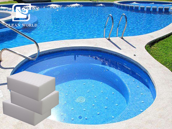 melamine foam on pool
