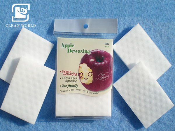 Apple dewaxing melamine foam