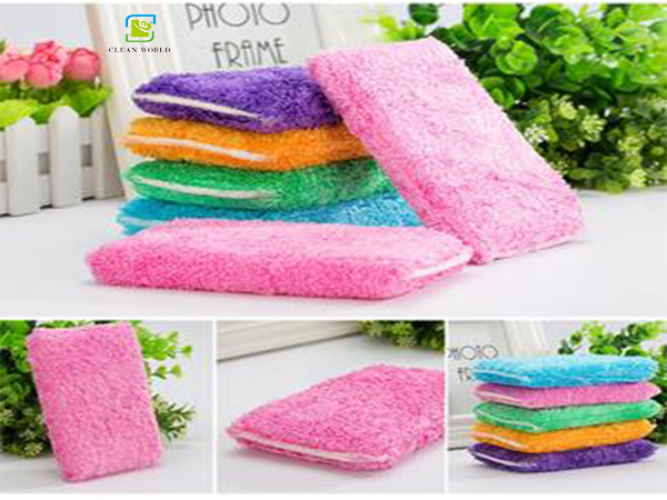 different colors of bamboo fiber sponges