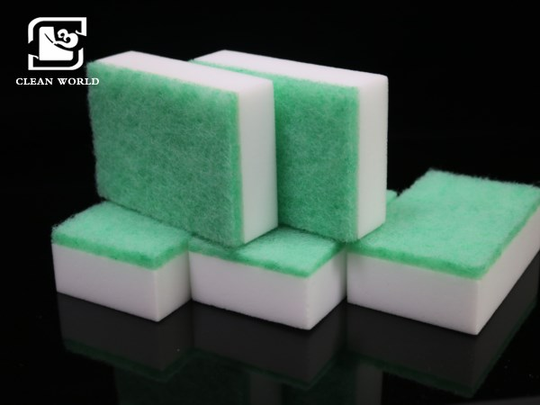 compound melamine foam sponge with scouring pad
