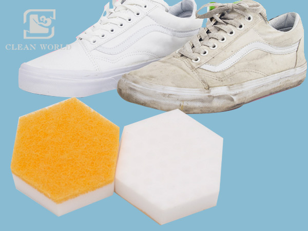 hexagon melamine foam for shoes cleaning.jpg